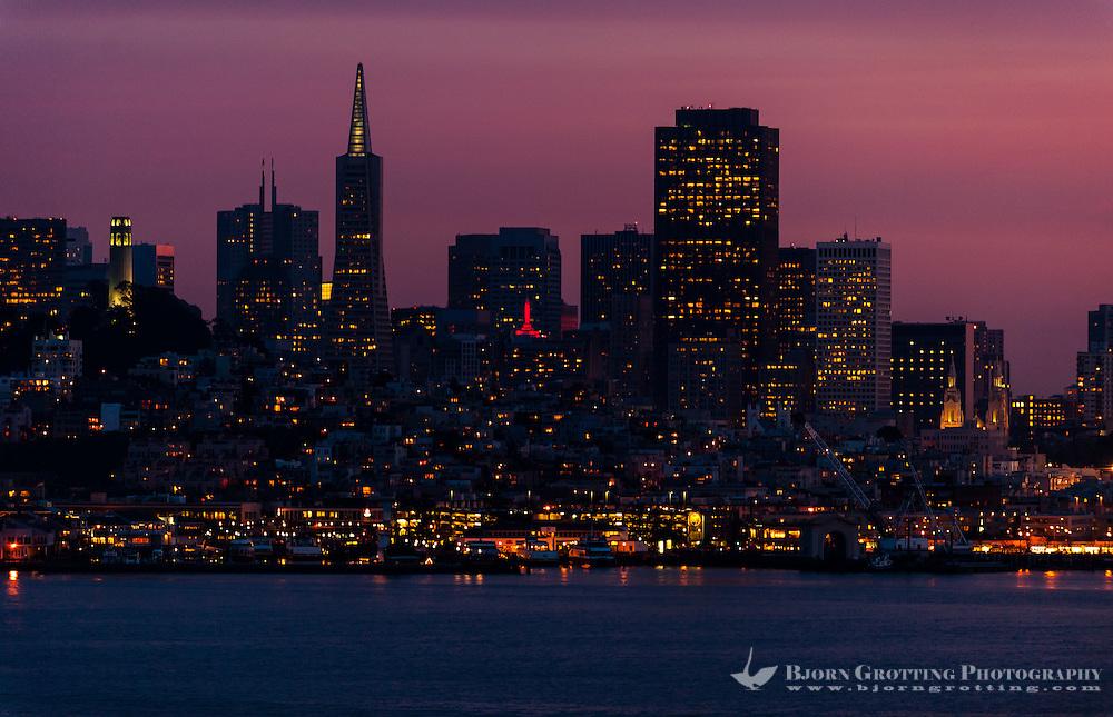 United States, California, San Francisco. The San Francisco cityscape at sunset, viewed from Alcatraz.