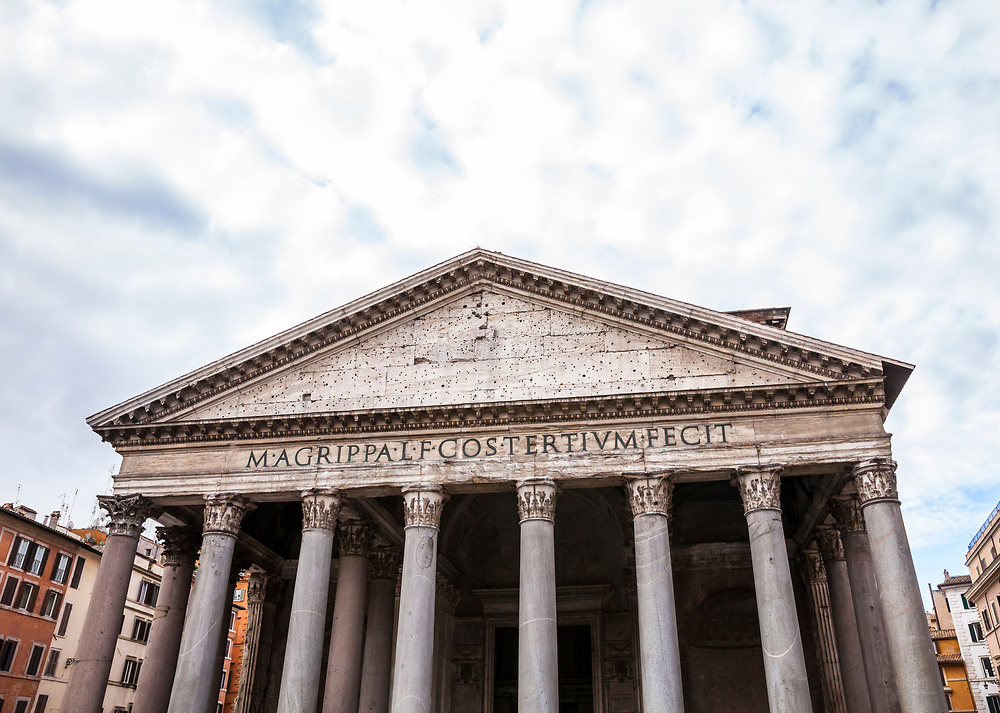 The Pantheon in central Rome, Italy. The Pantheon is a former Roman temple and now a church completed in 126 AD