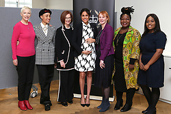 March 8, 2019 - London, London, United Kingdom - Image licensed to i-Images Picture Agency. 08/03/2019. London, United Kingdom. (L-R) British singer Annie Lennox, British model Adwoa Aboah, former Australian Prime Minister Julia Gillard,  Meghan Markle,  Duchess of Sussex, British journalist Anne  McElvoy, Camfed Regional Director Zimbabwe's Angeline Murimirwa and British campaigner Chrisann Jarrett take part in a panel discussion in London, convened by the Queen's Commonwealth Trust to mark International Women's Day  (Credit Image: © Pool/i-Images via ZUMA Press)