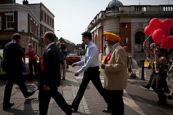 Gravesend , Kent,UK. 6th May 2011 Labour Leader Ed Miliband on a walkabout in Gravesend town centre  after Labour gained control of the Local Authority from the tories in the local elections held on 5thmay 2011.Photo  credit Andrew Baker.Under licence to London News Pictures/Andrew Baker..