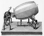 Phonautograph (c 1857) apparatus for studying sound vibrations graphically, invented by (Edouard) Leon Scott de Martinville.  Plaster of Paris barrel with brass tube at a with hog's bristle attached to trace vibrations produced in AB on lampblacked cylinder C. Engraving 1906.