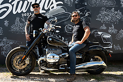 Mark Buche on the new R-1800 at the BMW corporate display downtown Sturgis during the Sturgis Motorcycle Rally. SD, USA. Friday, August 13, 2021. Photography ©2021 Michael Lichter.