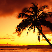 Fiery sunset on a Maui beach, Hawaii.