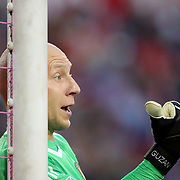HARRISON, NEW JERSEY- OCTOBER 15: Goalkeeper Brad Guzan #1 of Atlanta United in action during the New York Red Bulls Vs Atlanta United FC, MLS regular season match at Red Bull Arena, Harrison, New Jersey on October 15, 2017 in Harrison, New Jersey. (Photo by Tim Clayton/Corbis via Getty Images)