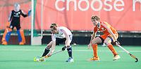 ROTTERDAM -  Siem Schoenaker   (Neth.) with Oliie Rogerson (l) .   Practice Match Hockey : Netherlands Boys U18  v England U18 .  COPYRIGHT KOEN SUYK