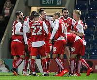 Fleetwood Town players celebrate Conor McLaughlin's opener<br /> <br /> Photographer Alex Dodd/CameraSport<br /> <br /> The EFL Sky Bet League One - Chesterfield v Fleetwood Town - Tuesday 18th October 2016 - Proact Stadium - Chesterfield<br /> <br /> World Copyright © 2016 CameraSport. All rights reserved. 43 Linden Ave. Countesthorpe. Leicester. England. LE8 5PG - Tel: +44 (0) 116 277 4147 - admin@camerasport.com - www.camerasport.com