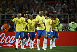 June 27, 2018 - Moscow, Russia - Neymar, Thiago Silva during the 2018 FIFA World Cup Russia group E match between Serbia and Brazil at Spartak Stadium on June 27, 2018 in Moscow, Russia. (Credit Image: © Mehdi Taamallah/NurPhoto via ZUMA Press)