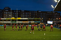Rugby Union - 2017 / 2018 Guinness Pro14 - Cardiff Blues vs. Scarlets<br /> <br /> view of the ground with westgate st flats in background at dusk as George Earle  of Cardiff leaps to catch the ball at a lineout, at Cardiff Arms Park.<br /> <br /> COLORSPORT/WINSTON BYNORTH