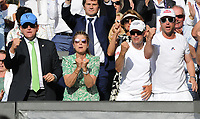 Tennis - 2019 Wimbledon Championships - Week Two, Friday (Day Eleven)<br /> <br /> Men's Singles, Semi-Final: Rafael Nadal (ESP) v Roger Federer (SUI)<br /> <br /> Roger Federer's wife, Mirka celebrates in the players box on Centre Court.<br /> <br /> COLORSPORT/ANDREW COWIE