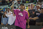 Nyjah Huston, USA, wins the men's final of the Street League Skateboarding World Tour Event at Queen Elizabeth Olympic Park on 26th May 2019 in London in the United Kingdom. Nyjah Imani Huston is an American professional skateboarder, this was his 5th win at the Street League Series. He has also won 8 Summer X-Games gold medals. Huston is the highest paid skateboarder in the world.