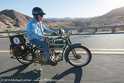 Doug Jones riding his 1914 Indian Model 260 Standard as he leaves Lake Havasu City during the Motorcycle Cannonball Race of the Century. Stage-14 ride from Lake Havasu CIty, AZ to Palm Desert, CA. USA. Saturday September 24, 2016. Photography ©2016 Michael Lichter.