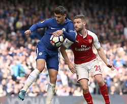 17 September 2017 London : Premier League Football : Chelsea v Arsenal : Alvaro Morata of Chelsea is challenged by Shkodran Mustafi of Arsenal (right).<br /> Photo: Mark Leech