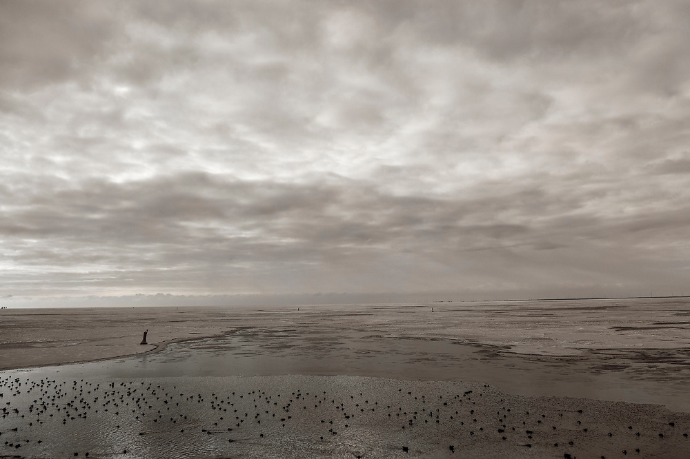 Nederland, Friesland, Breezanddijk, 10-02-2021; Zuiderhaven en IJsselmeer met ijs. Vogels in open water. Winterlandschap.<br /> IJsselmeer with ice, a view of the Wadden Sea.<br /> Winter landscape.<br /> drone-opname (luchtopname, toeslag op standaard tarieven);<br /> drone recording (aerial, additional fee required);<br /> copyright foto/photo Siebe Swart