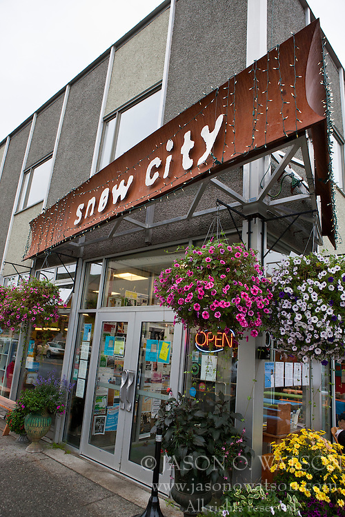 Exterior of the Snow City Cafe restaurant, downtown, Anchorage, Alaska, United States of America