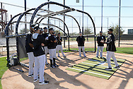 GLENDALE, AZ - FEBRUARY 25:  Base running coach Vince Coleman of Chicago White Sox addresses the team during spring training workouts on February 25, 2015 at The Ballpark at Camelback Ranch in Glendale, Arizona. (Photo by Ron Vesely)   Subject:   Vince Coleman