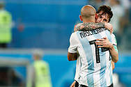 Argentina defender Javier Mascherano (L) and Argentina forwarder Lionel Messi (R) celebrate the victory after the 2018 FIFA World Cup Russia, Group D football match between Nigeria and Argentina on June 26, 2018 at Saint Petersburg Stadium in Saint Petersburg, Russia - Photo Stanley Gontha / Pro Shots / ProSportsImages / DPPI