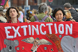 © Licensed to London News Pictures. 30/08/2021. London, UK. Protesters take part in EXTINCTION REBELLION'S THE IMPOSSIBLE REBELLION demonstration in the London Bridge area. Photo credit: Ray Tang/LNP