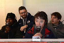 Journalists from the Spectrum programme in the Radio Booth - Photo mandatory by-line: Dougie Allward/JMP - Mobile: 07966 386802 - 29/03/2015 - SPORT - Rugby - Bristol - Ashton Gate - Bristol Rugby v Bedford Blues - Greene King IPA Championship