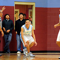 113012  Adron Gardner<br /> <br /> Dulce Hawks Darrell Vicenti (10), right, reacts in frustration after a narrow 2-point loss to the Newcomb Skyhawks in Rehoboth Friday.