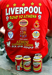 Athens, Greece - Wednesday, May 23, 2007: Liverpool's fan in Syntagma Square ahead of the UEFA Champions League Final against AC Milan. (Pic by Chris Ratcliffe/Propaganda)