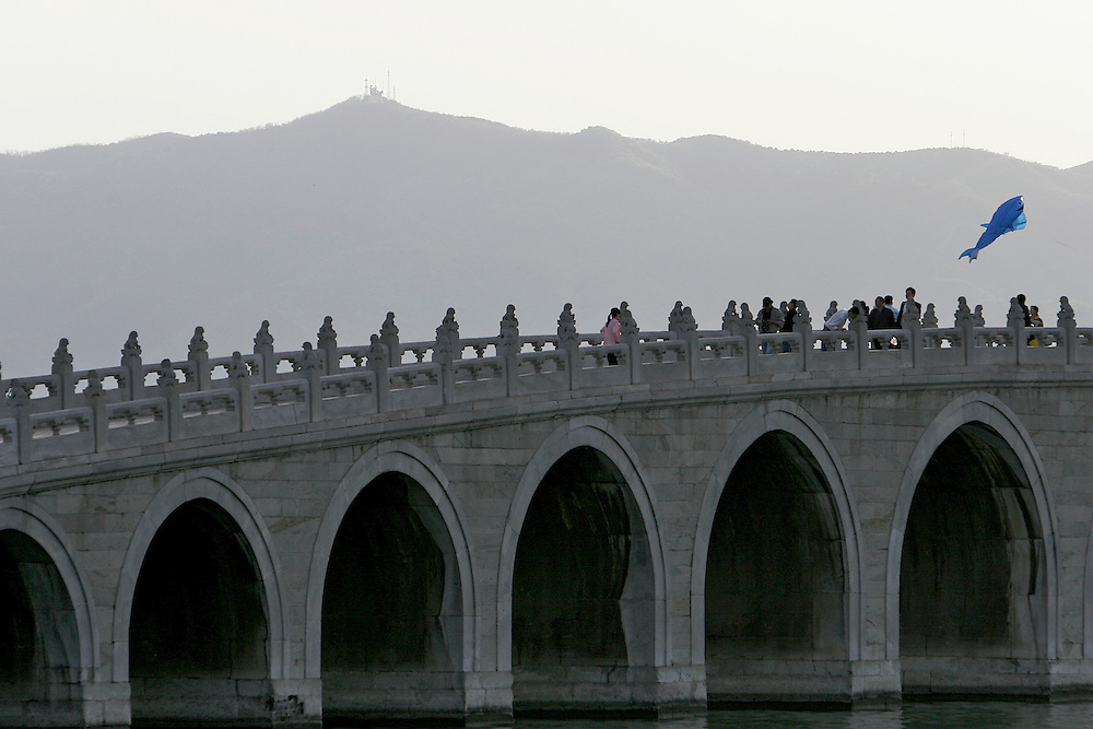 The Seventeen Arch Bridge at the Summer Palace.  The Summer Palace is in north west Beijing, China was built in the Jin Dynasty.  The Summer Palace is over 700 acres, 3/4 of which is the Kunming Lake.