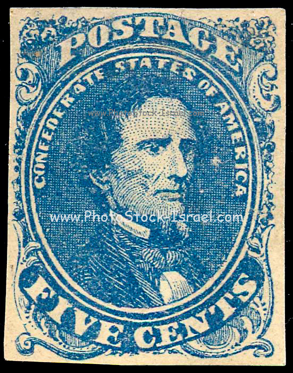 Confederate postage stamp, 5 cent blue depicts Jefferson Davis printed in blue.