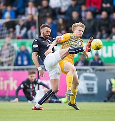Falkirk's Lee Miller and Morton's Luca Gasparotto. <br /> Falkirk 1 v 0 Morton, Scottish Championship game  played 1/5/2016 at The Falkirk Stadium.