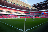 Corner flag on the pitch inside the stadium ahead of the UEFA Nations League match between England and Croatia at Wembley Stadium, London, England on 18 November 2018.
