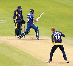 Durham's Scott Borthwick bowls Gloucestershire's Benny Howell - Mandatory by-line: Robbie Stephenson/JMP - 07966386802 - 04/08/2015 - SPORT - CRICKET - Bristol,England - County Ground - Gloucestershire v Durham - Royal London One-Day Cup