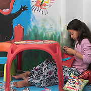 Sejan, 10, in the playroom at PIKPA, a refuge opened in January 2016 by the Leros Solidarity Network as a shelter for families and unaccompanied minors.