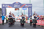 Grampian and District pipe band perform ahead at the riders finishing during Stage 8 of the AJ Bell Tour of Britain 2021 between Stonehaven to Aberdeen, , Scotland on 12 September 2021.