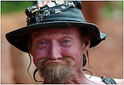 """East Dublin, Ga. - July 9, 2005: """"L Bow"""", the unofficial games supervisor clowns around for the camera Saturday July 9, 2005 during The Tenth Annual Summer Redneck Games in East Dublin, Ga. (Photo/Stephen Morton)."""