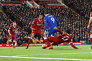 Joe Gomez of Liverpool gets his foot to the ball just ahead of Alvaro Morata of Chelsea to defend from a goal. Premier League match, Liverpool v Chelsea at the Anfield stadium in Liverpool, Merseyside on Saturday 25th November 2017.<br /> pic by Chris Stading, Andrew Orchard sports photography.