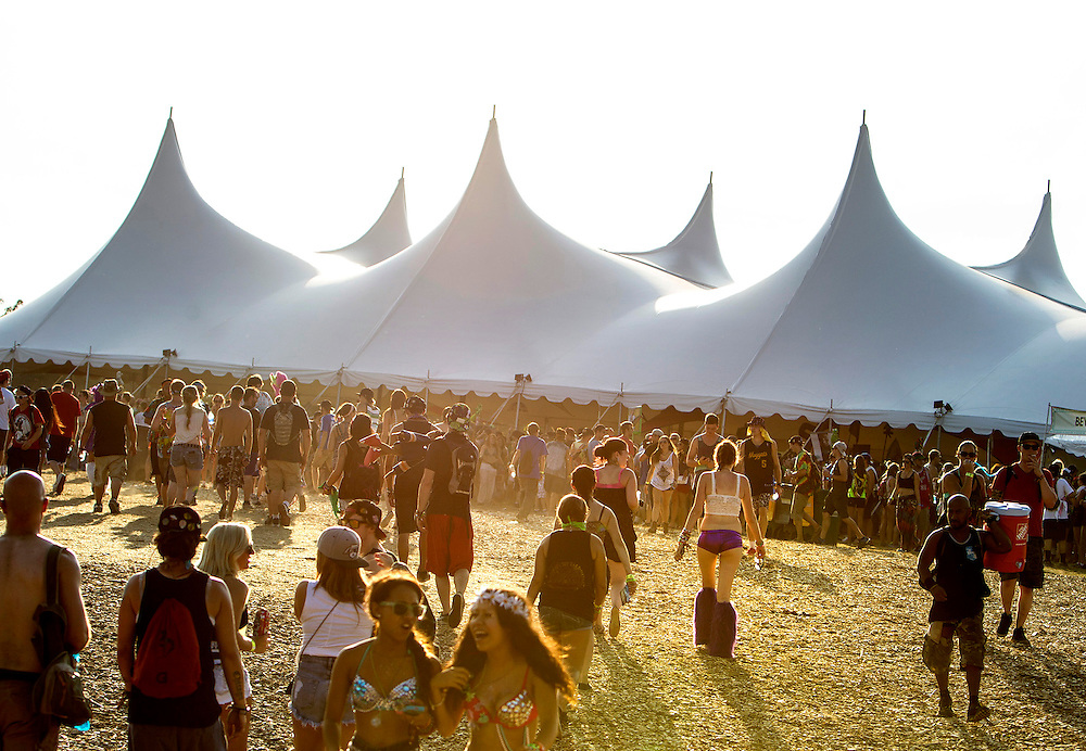 Festival attendees flock to the electronic dance music stage at Summer Set Music and Camping Festival in Somerset, Wisconsin, August 15, 2014.