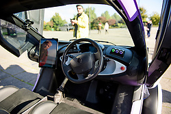 © London News Pictures. 11/10/2016. Milton Keynes, UK. Detail picture showing the interior of the vehicle. A driverless car being tested around pedestrian areas in Milton Keynes in the first public test of autonomous electric vehicles in the UK. The vehicles have been developed by the Oxford Robotics Institute and Oxbotica. Photo credit: Ben Cawthra/LNP