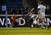 Sale Sharks wing Denny Solomona dives into to score in the corner during a Gallagher Premiership Rugby Union match won by Sharks 39-0, Friday, Mar. 6, 2020, in Eccles, United Kingdom. (Steve Flynn/Image of Sport)