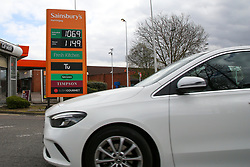 © Licensed to London News Pictures. 31/03/2020. London, UK. Sainsbury's in north London sells unleaded petrol below £1.07 per litre and diesel below £1.15 per litre following oil price drop. Photo credit: Dinendra Haria/LNP