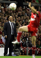 Photo: Paul Thomas.<br /> Liverpool v Toulouse. UEFA Champions League Qualifying. 28/08/2007.<br /> <br /> Rafael Benitez, manager of Liverpool watches play.