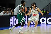 Real Madrid´s Facundo Campazzo and Zalgiris Kaunas´s Will Cherry during 2014-15 Euroleague Basketball match between Real Madrid and Zalgiris Kaunas at Palacio de los Deportes stadium in Madrid, Spain. April 10, 2015. (ALTERPHOTOS/Luis Fernandez)