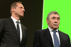October 25, 2018 - Paris, France - PRUDHOMME Christian (FRA) Director of ASO and Eddy Merckx pictured during the presentation of the 2019 Tour de France at the Palais des Congres (Credit Image: © Panoramic via ZUMA Press)