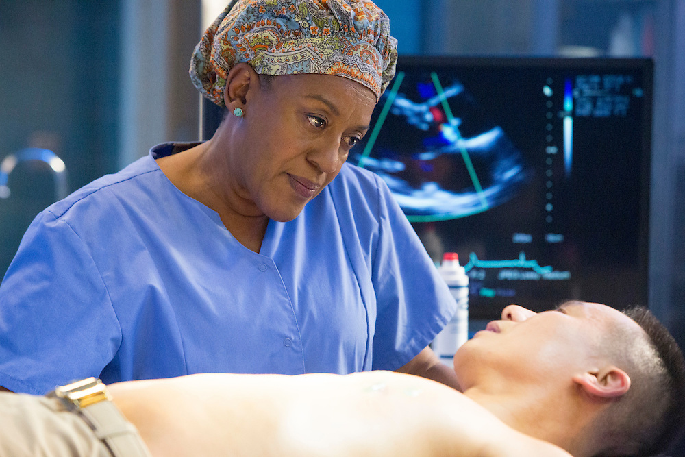 """CCH Pounder as Dr. Loretta Wade and DB Wong as Navy Lieutenant Commander Dr. Gabriel Lin in CBS's """"NCIS: New Orleans"""" Season 1"""
