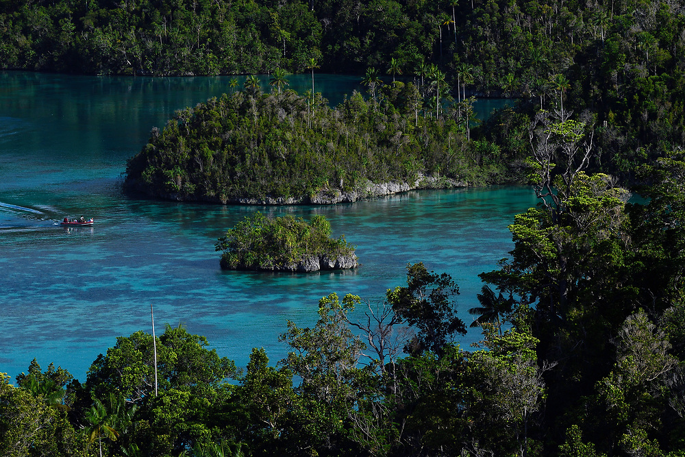 """Karst landscapes in Waiag archipelago, Raja Ampat, Western Papua, Indonesian controlled New Guinea, on then Science et Images """"Expedition Papua, in the footsteps of Wallace"""", by Iris Foundation"""