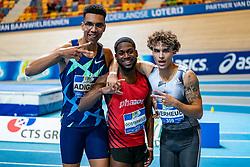 Onyema Adigida, Keitharo Oosterwolde, Justin Verheul after the 200 meter final during AA Drink Dutch Athletics Championship Indoor on 21 February 2021 in Apeldoorn.