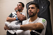 DALLAS, TX - MAY 13:  Yair Rodriguez has his hands wrapped before his featherweight fight against Frankie Edgar during the UFC 211 event at the American Airlines Center on May 13, 2017 in Dallas, Texas. (Photo by Cooper Neill/Zuffa LLC/Zuffa LLC via Getty Images) *** Local Caption *** Yair Rodriguez