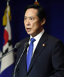 29 July 2017 - Seoul, South Korea :(In this photo handout provided by South Korea Defense Ministry) South Korean Defense Minister Song Young-moo, speaks during a press conference at the Defense Ministry in Seoul, South Korea on July 29, 2017. North Korea on Friday test-fired its second intercontinental ballistic missile, which flew longer and higher than the first according to its wary neighbors, leading analysts to conclude that a wide swath of the U.S., including Los Angeles and Chicago, is now within range of Pyongyang's weapons. Photo Credit: South Korea Defense Ministry/Handout *** Please Use Credit from Credit Field ***