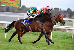 Tower Bridge and J J Slevin (left) beats Jetz<br /> in the Nathaniel Lacy & Partners Solicitors Novice Hurdle during day one of the Dublin Racing Festival at Leopardstown Racecourse.