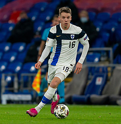 CARDIFF, WALES - Wednesday, November 18, 2020: Finland's Robert Taylor during the UEFA Nations League Group Stage League B Group 4 match between Wales and Finland at the Cardiff City Stadium. Wales won 3-1 and finished top of Group 4, winning promotion to League A. (Pic by David Rawcliffe/Propaganda)