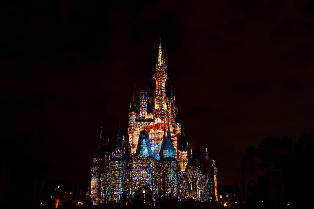 The Magic Memories & You! castle projection show, Cinderella Castle, Magic Kingdom, Walt Disney World, Orlando, Florida USA