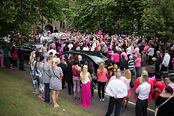 © Licensed to London News Pictures . 09/08/2013 . Salford , UK . The pink coffin arrives at the church in a horse drawn hearse . The funeral of Linzi Ashton at St Paul's C of E Church in Salford , today (9th August 2013) . Linzi Ashton (25) was found murdered in her home on Westbourne Road in Salford on 29th June . Michael Cope is standing trial, accused of murdering, raping and assaulting her . Photo credit : Joel Goodman/LNP