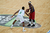 Unicaja's Kyle Fogg and FCB Lassa's Tyrese Rice during Quarter Finals match of 2017 King's Cup at Fernando Buesa Arena in Vitoria, Spain. February 17, 2017. (ALTERPHOTOS/BorjaB.Hojas)